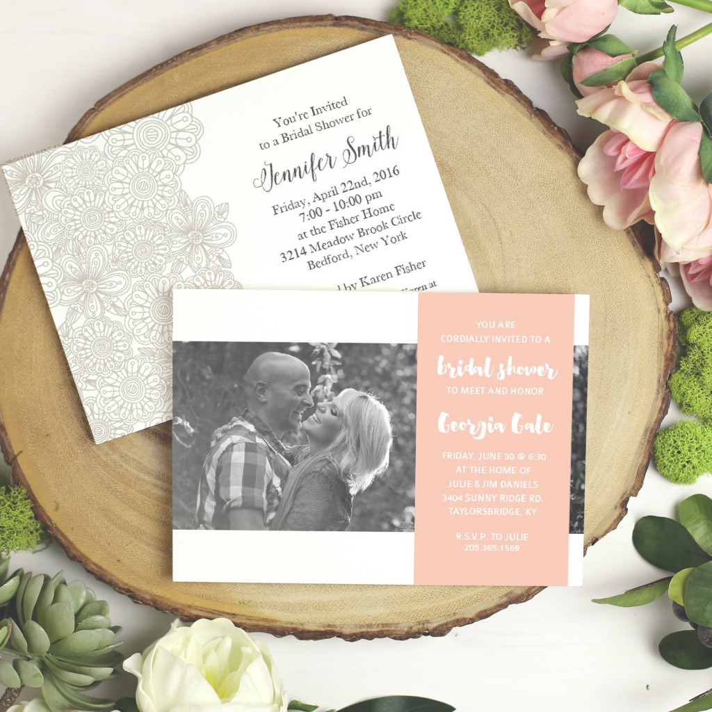 Bridal Shower Invitations | Pink and grey invitations | Basic Invite